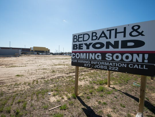 View of the sign along Del. 1 for the new Bed Bath