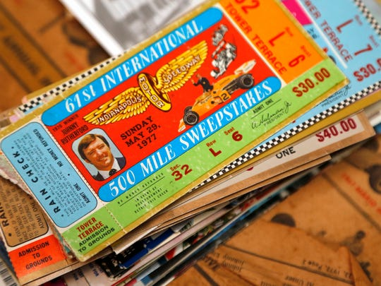 A stack of tickets from past Indianapolis 500 race