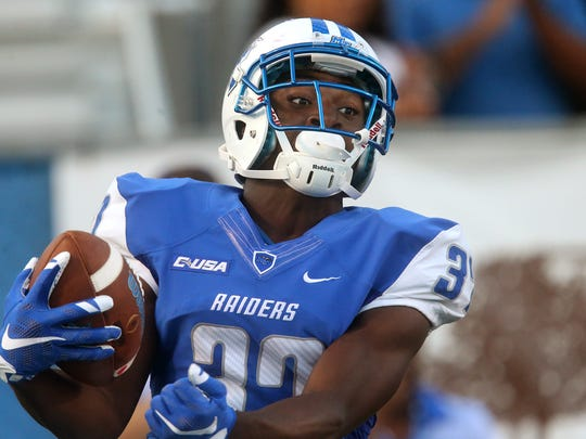 MTSU's Patrick Smith (37) celebrates his touchdown against Alabama A&M.