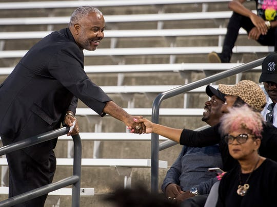 New Alabama State University President Quentin Ross greets Hornet fans before the Alcorn State game at Hornet Stadium on the ASU campus in Montgomery, Ala. on Thursday October 5, 2017.