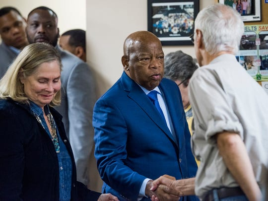 U.S. Rep John Lewis makes a stop in Montgomery on Friday November 10, 2017 to meet with Doug Jones campaign volunteers as he campaigns for Jones across the state.