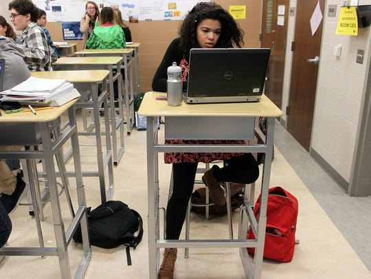 City High sophomore Jessica Sheffield works on a class
