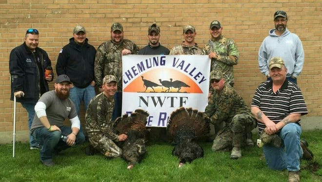 Chemung Valley Ridgerunners Chapter of the National Wild Turkey Federation recently joined forces with Operation Injured Soldier to sponsor a spring turkey hunt. Front row, from left, Sean Livermore, Marine Nathan Buovio and Marine John Lozinski. Back row, from left, Edward Spence, Chad McDonald, Lewis White, Nick Smith, Rick Reynolds and Troy McDonald.