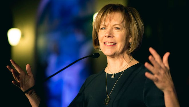 In this Jan. 10, 2015, file photo, Minnesota Lt. Gov. Tina Smith speaks in St. Paul, Minn. Smith is a possible replacement to fill U.S. Sen. Al Franken's seat after he announced his resignation amid multiple sexual misconduct allegations Thursday, Dec. 7, 2017, on the Senate floor in Washington. His resignation means Minnesota Gov. Mark Dayton, a fellow Democrat, will name a temporary replacement. The winner of a special election in November would serve through the end of Franken's term in January of 2021. (Aaron Lavinsky /Star Tribune via AP, File)