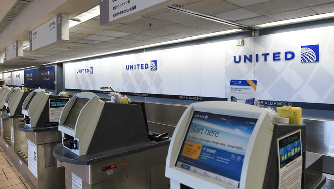 The United Airlines check-in counter at the Antonio B. Won Pat International Airport on Oct. 6, 2017.