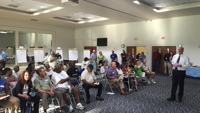 Several dozen River Park residents gathered to discuss the Naples' parks master plan on Oct. 10, 2016.