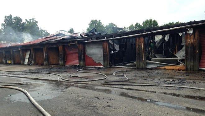 Storage building burns in Lexington.