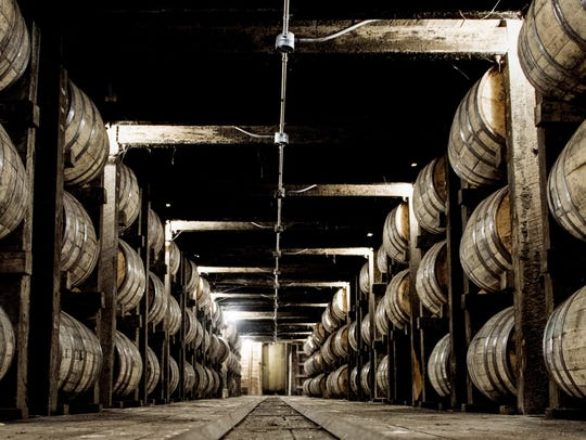 Barrels of whiskey are being aged in one of the barrel warehouses at the Jack Daniel Distillery in Lynchburg, Tennessee. The state's export losses were down in 2018's fourth quarter, due in part to retaliatory tariffs placed on American exports, such as whiskey, according to a new MTSU report.