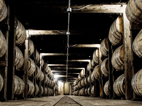 Whiskey is aged in a barrel warehouse at the Jack Daniel's distillery in Lynchburg, Tennessee.