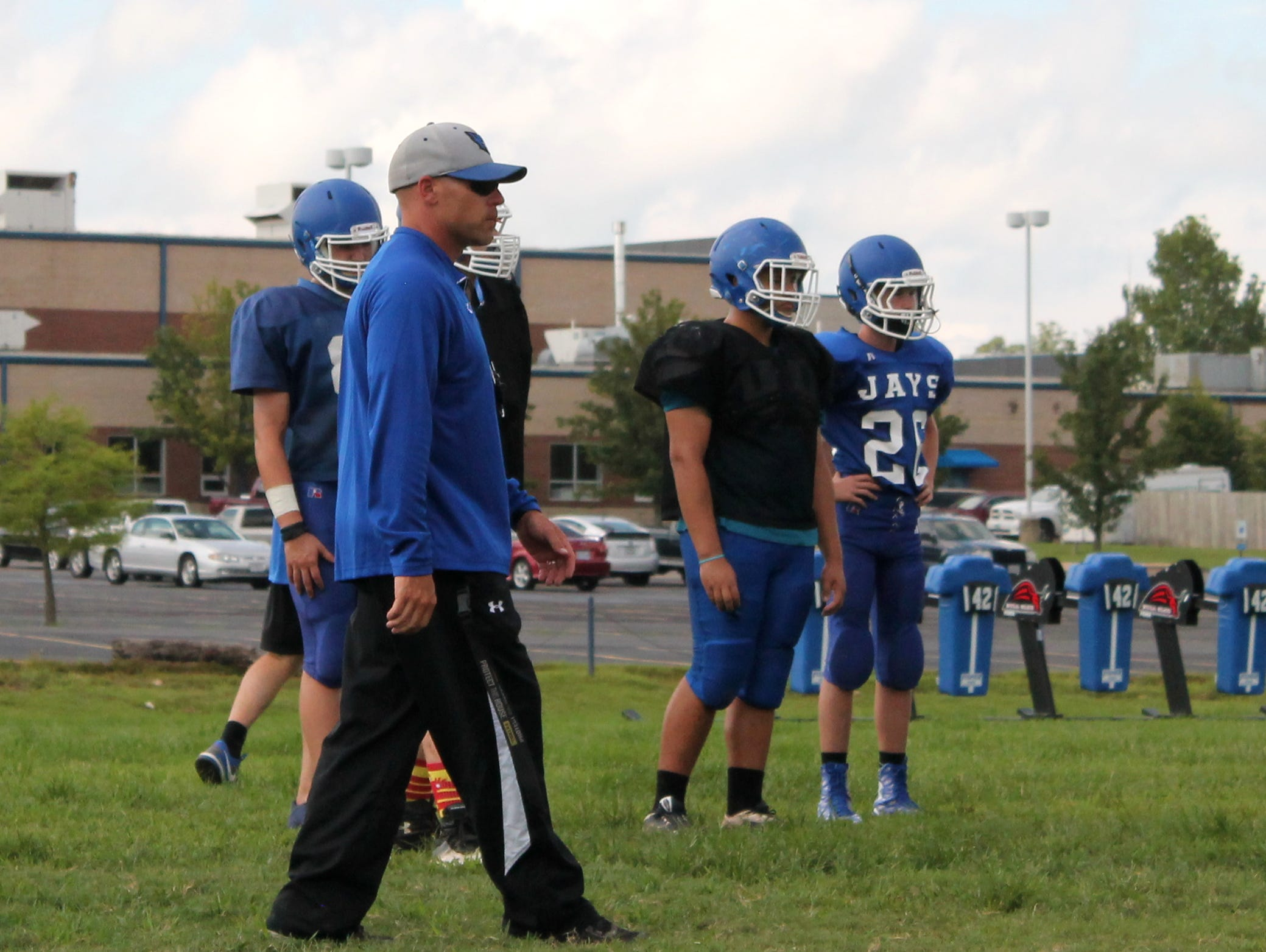 Coach Nate Thomas at a Marshfield football practice in 2016.