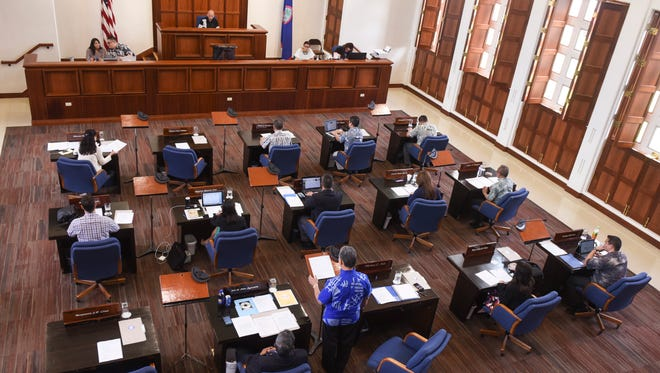 In this April 28, 2017, file photo, the Guam Legislature convenes for a special session. Senators will begin discussions of the fiscal 2018 budget this week.