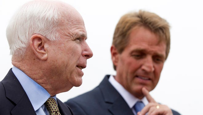U.S. Sen. John McCain speaks during a press conference on allegations of mismanagement at the Phoenix VA Health Care System on  April 18, 2014.