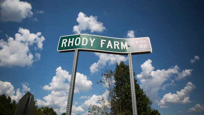 This photograph of Rhody Farm Road in Starr was taken Thursday.