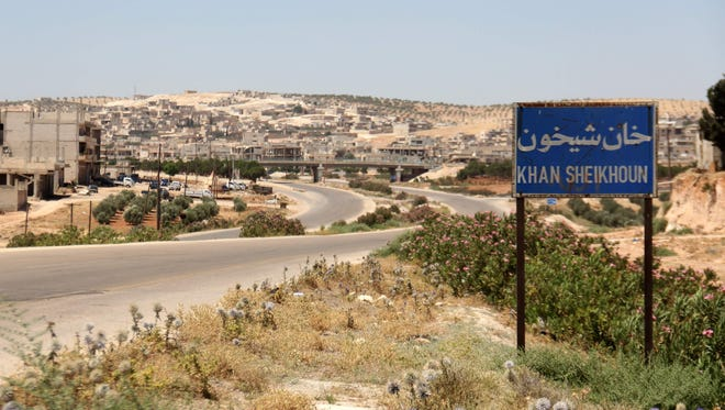 This file photograph taken on July 12, 2017, shows the entrance of Khan Sheikhun, a rebel-held town in the northwestern Syrian Idlib province, 100 days following a suspected toxic gas attack that was reported to have killed 88 people, including 31 children.