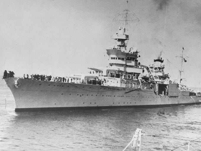 This is cruiser U.S.S. Indianapolis which was sunk