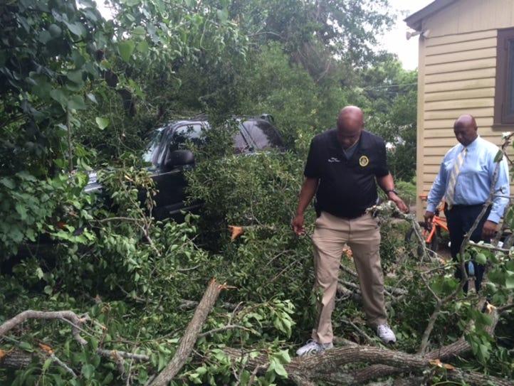 Opelousas Reggie Tatum responded to the scene of branches