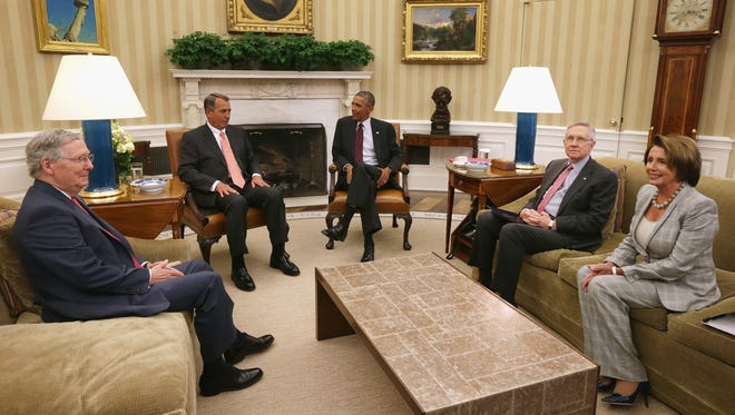 President Obama meets Tuesday with congressional leaders to discuss his strategy against the Islamic State.