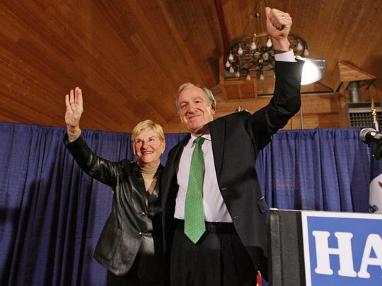 U.S. Senator Tom Harkin waves to supporters with wife Ruth at an event where he announced he was running for another term in the U.S. Senate, Monday morning, March 10, 2008 in Cumming, Iowa. (JOHN GAPS III/The Register)