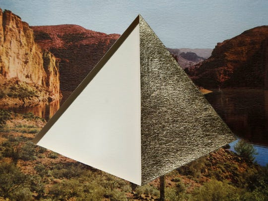 """A collage and gold-leaf piece by artist Amy Alice Thompson, titled """"Apache Trail,"""" is part of the exhibit """"Changing Landscapes"""" on Tuesday at Robert L. Ringel Gallery inside Stewart Center on the Purdue campus. The piece is part of Thompson's series """"See Your West."""""""