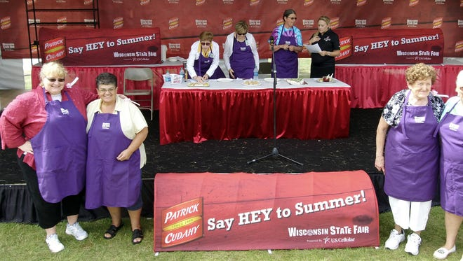Beth Campbell, second from left, wins the Patrick Cudahy Ham Appetizer Recipe Contest at the 2017 Wisconsin State Fair.