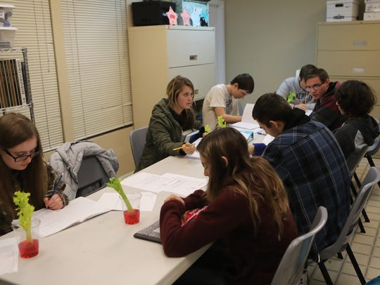 Students participate in a biology lab Wednesday at