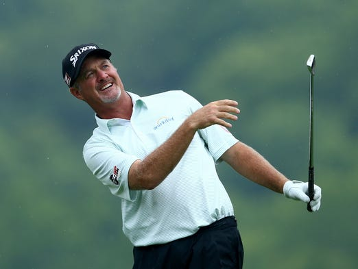 Jerry Kelly reacts on the eighth hole tee during the second round of the PGA Championship at Valhalla Golf Club.