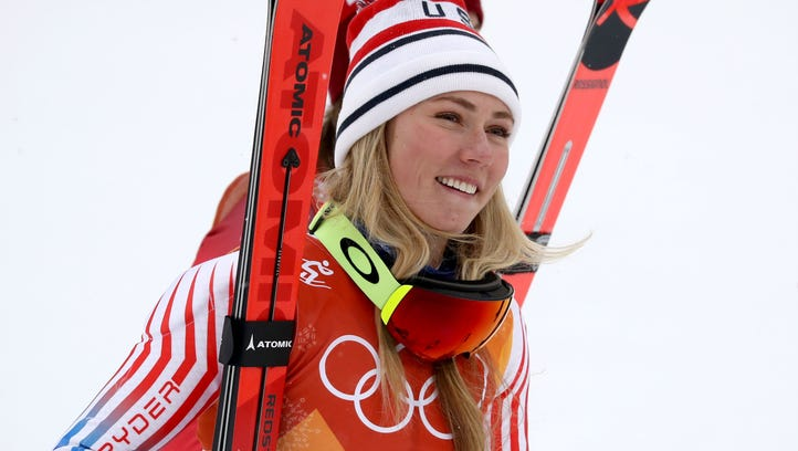 Mikaela Shiffrin competes in the women's alpine combined