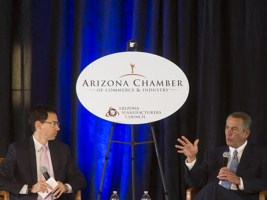 Former Speaker of the House John Boehner speaks at a luncheon with the Arizona Chamber of Commerce on Nov. 15, 2017, in Scottsdale.