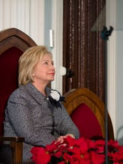Former Secretary of State Hillary Clinton waits to speak at Dexter Avenue King Memorial Baptist Church in Montgomery, Ala. on Tuesday, Dec. 1, 2015. Clinton is scheduled to appear at the annual Selma Bridge Crossing Jubilee on March 3.