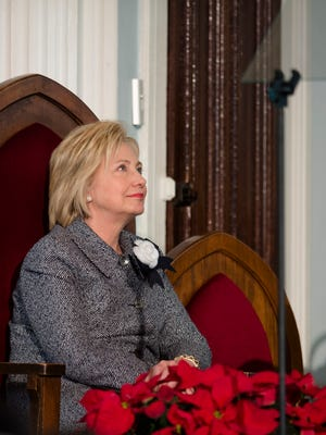 Hillary Clinton, Democratic Presidential candidate, looks on before speaking at the 60th Anniversary of the Montgomery Bus Boycott: Role Lawyers Played in Cilcil Rights Movement at Dexter Avenue King Memorial Baptist Church in Montgomery, Ala., on Tuesday, Dec. 1, 2015.