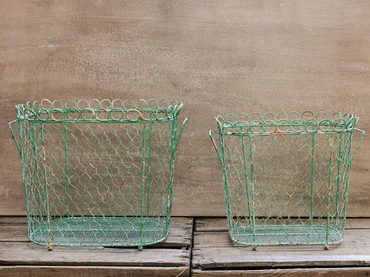 Turquoise wire baskets