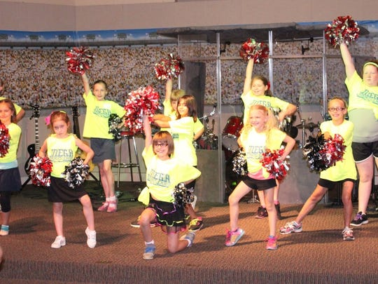 Pom is one of four activities available at the MEGA Sports Camp in Pinckney.