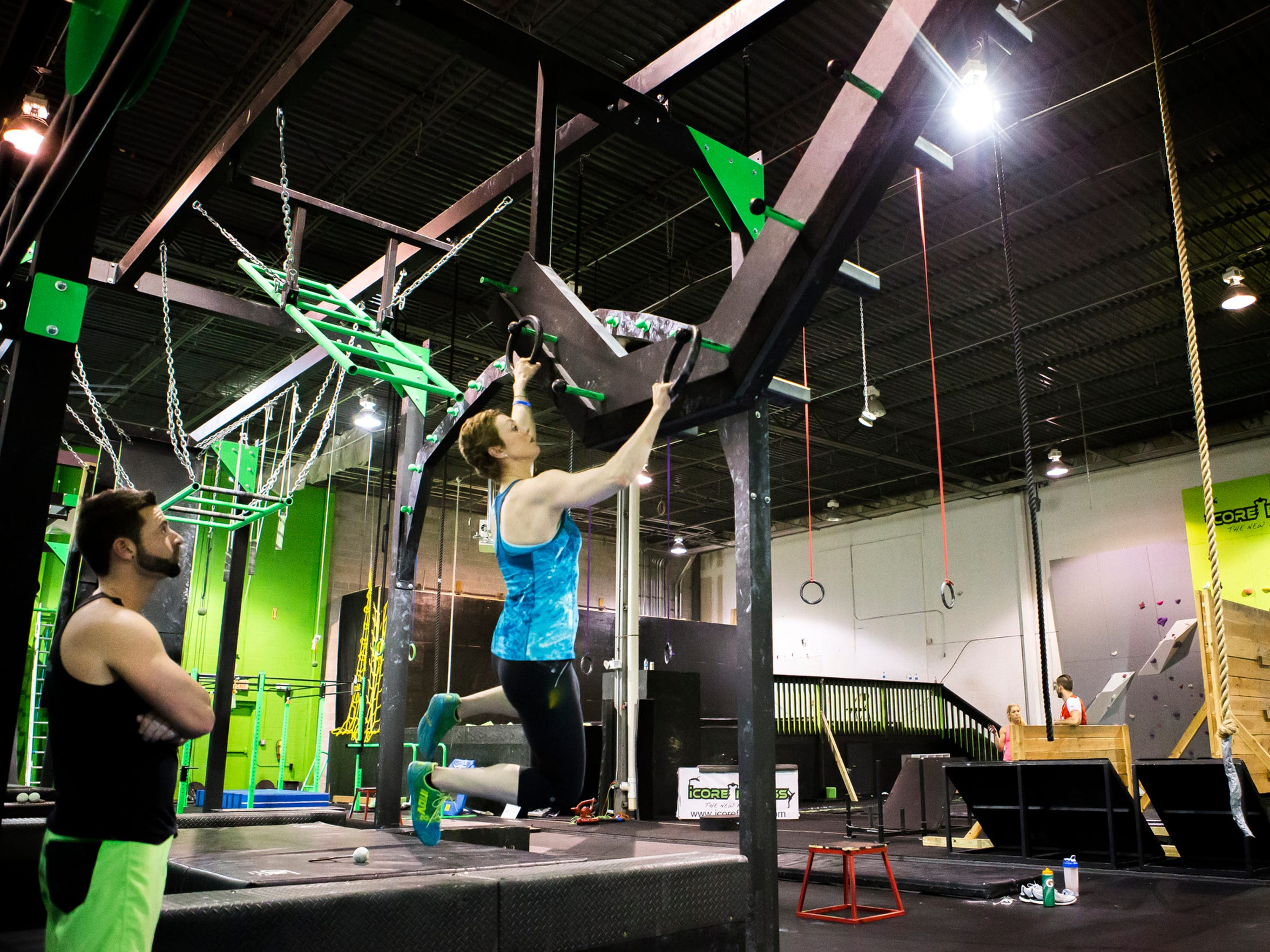 """""""American Ninja Warrior"""" contestant Arianne Missimer trains last month on an obstacle course at iCore Fitness in West Chester, Pa."""