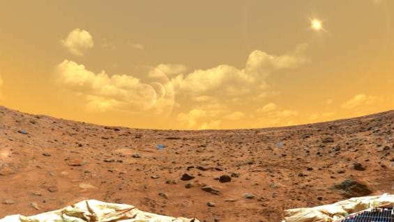 A view from the NASA rover on Mars.