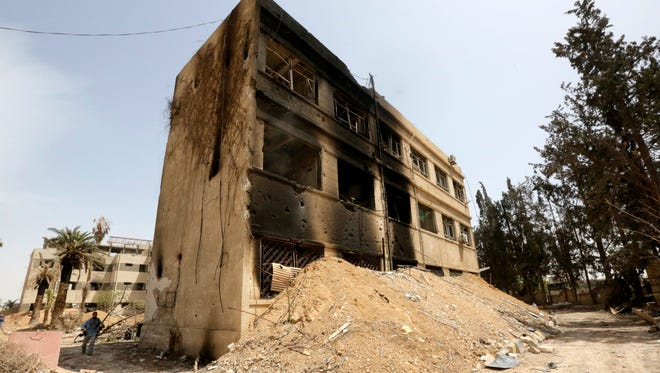 An exterior view allegedly of the so-called al-Touba prison at the recently-recaptured Douma city, in Eastern Ghouta, the countryside of Damascus, Syria, April 20, 2018.