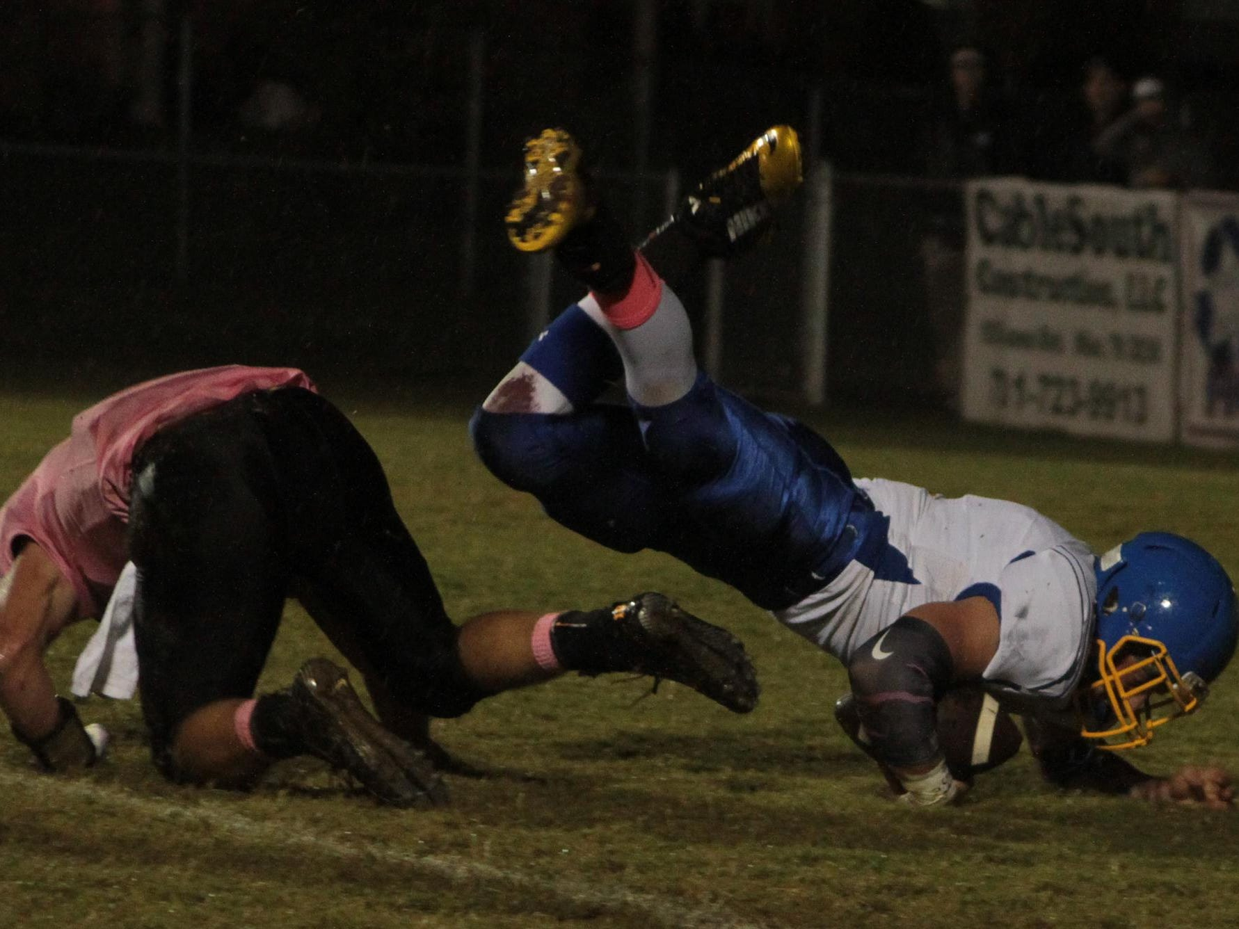 Westview's Dallas Callins (2) falls over South Gibson's Austin Duncan (10) to score a touchdown Friday night.