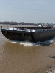 One of the last barges to be launched at Jeffboat hits the water. April 2018