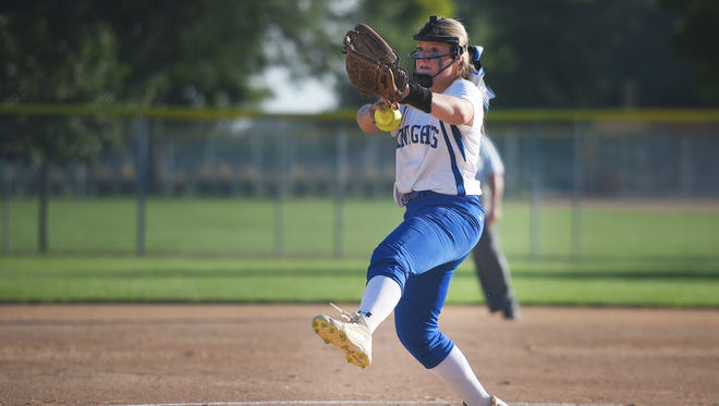 O'Gorman sophomore Shayla Shaver collected nine wins and struck out 110 batters in 2017 for the Class A champion Knights.