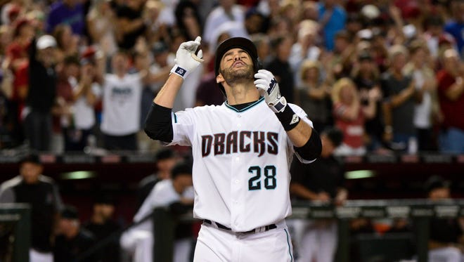 Sep 26, 2017: Arizona Diamondbacks right fielder J.D. Martinez (28) celebrates after hitting a grand slam home run against the San Francisco Giants in the second inning at Chase Field.