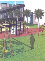 A concept drawing by the MacFarlane Group shows a playground