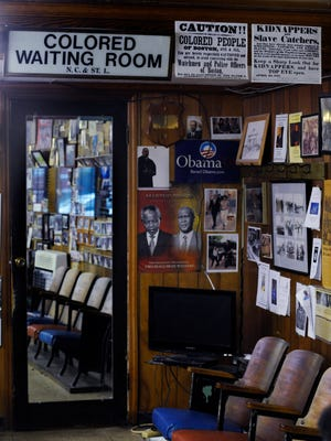 Historic Colored Waiting Room signage is displayed at Malden Brothers Barber shop on South Jackson St. in Montgomery, Ala. on Tuesday April 14, 2015. Nelson Malden was Martin Luther King''s barber when King lived in montgomery.