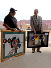 Artist Daniel Growler and Ivins City Mayor Chris Hart