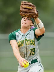 Cedar Creek's Mary Terrel pitches in the state title game in April.