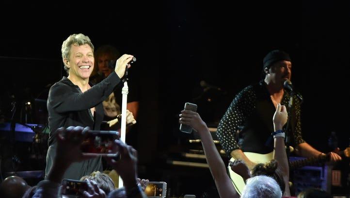 Jon Bon Jovi performs onstage during a Bon Jovi concert