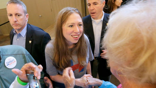 Chelsea Clinton greets supporters in Racine on Monday after a campaign appearance for her mother, Democratic presidential nominee Hillary Clinton.
