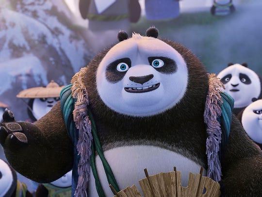 Po's father Li (center, voiced by Bryan Cranston) among