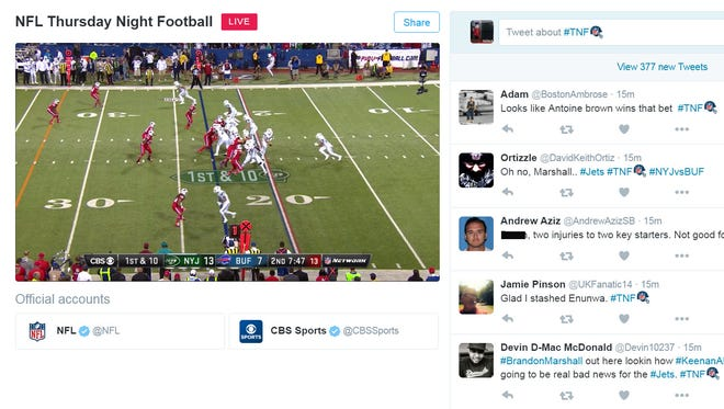 A screenshot of Twitter's livestream of the Thursday Night Football game between the Jets and Bills.