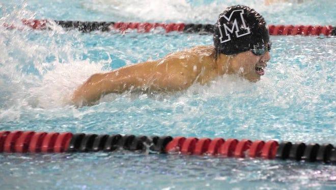 Millburn senior swimmer Evan Ng