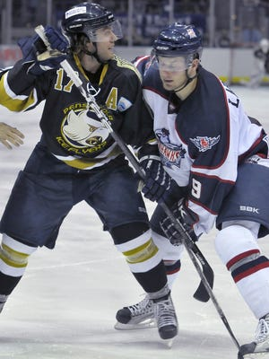 Matt Whitehead (17), shown in this 2011 photo when he played for the Pensacola Ice Flyers (note the former jerseys) against the former Augusta RiverHawks. Whitehead, 31, was acquired by the Ice Flyers Wednesday and will play in Thursday's road game at Knoxville.