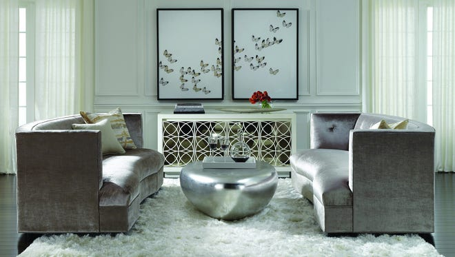 Top: Mitchell Gold + Bob Williams Dumont sofas at Robb & Stucky point the way to the newest shades of gray.